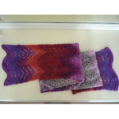 Weightless Feather and Fan Scarf in Noro Silk Garden