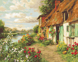 Luca-S Cottage Landscape Petit Point Tapestry Kit