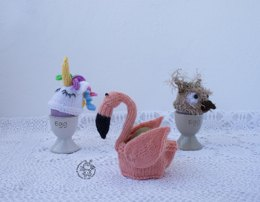Easter Egg Cozy: flamingo, owl, unicorn