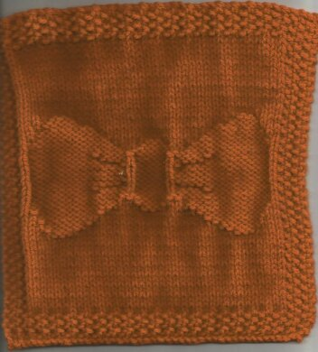 Pee Wee's Bow Tie Knitted Dishcloth