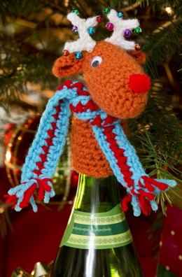Fa-la-la-la-Reindeer Bottle Top in Red Heart Super Saver Economy Solids - LW3189