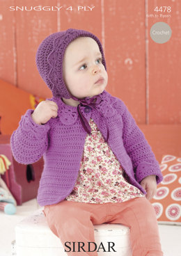 Crochet A-line Coat & Bonnet in Sirdar Snuggly 4 Ply - 4478