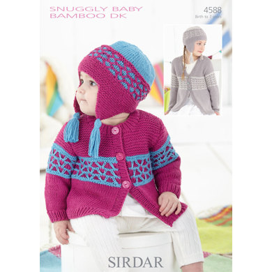 Sirdar Knitting Pattern Abbreviations : Cardigans and Helmet in Sirdar Snuggly Baby Bamboo DK - 4588 - Downloadable PDF