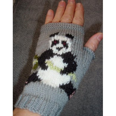 Panda fingerless gloves/fingerless mitts