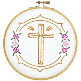 Jack Dempsey Stamped Hoop Kits - Cross - 6in