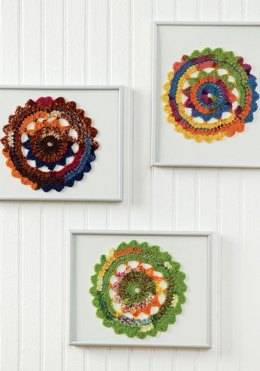 Colorful Crocheted Doilies  in Red Heart Heart & Sole - LW1613