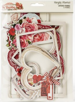 Simple Stories Simple Vintage My Valentine Layered Frames Die-Cuts 6/Pkg - 613130