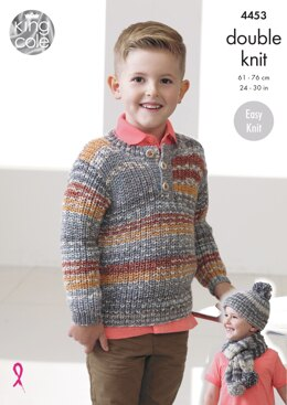 Sweaters, Hat & Scarf in King Cole DK - 4453 - Downloadable PDF