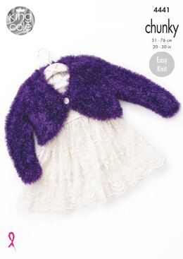 V & Round Neck Boleros in King Cole Tinsel Chunky - 4441 - Downloadable PDF