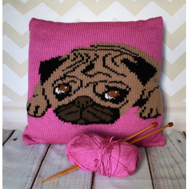 Pug Pet Portrait Cushion Cover Knitting Pattern Knitting Pattern By