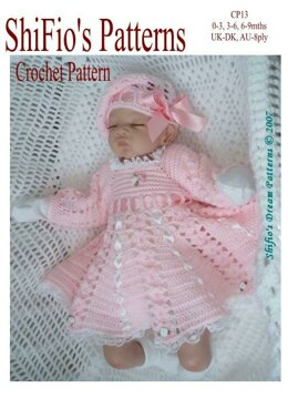 Crochet Pattern baby dress & hat UK & USA Terms #13
