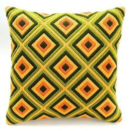 Vervaco Green and Yellow Diamonds Long Stitch Cushion Front