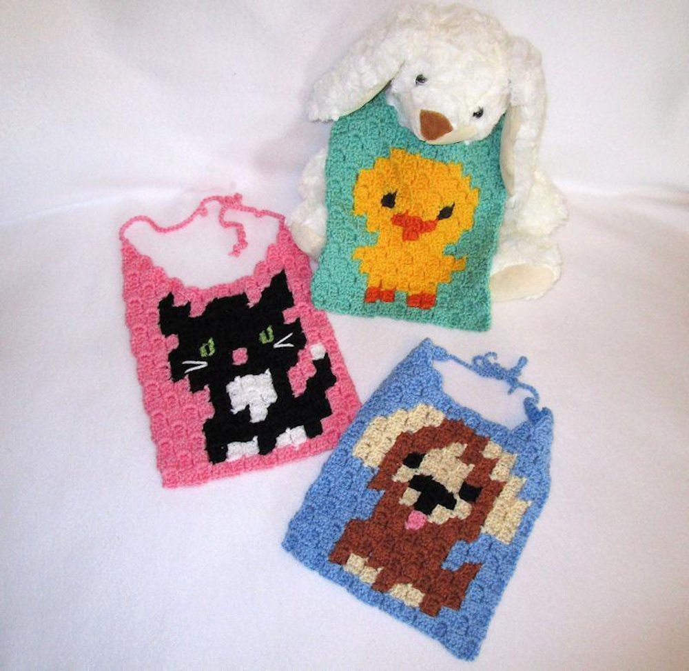 C2c Trio Of Baby Bibs Crochet Pattern By Craft Designs For You