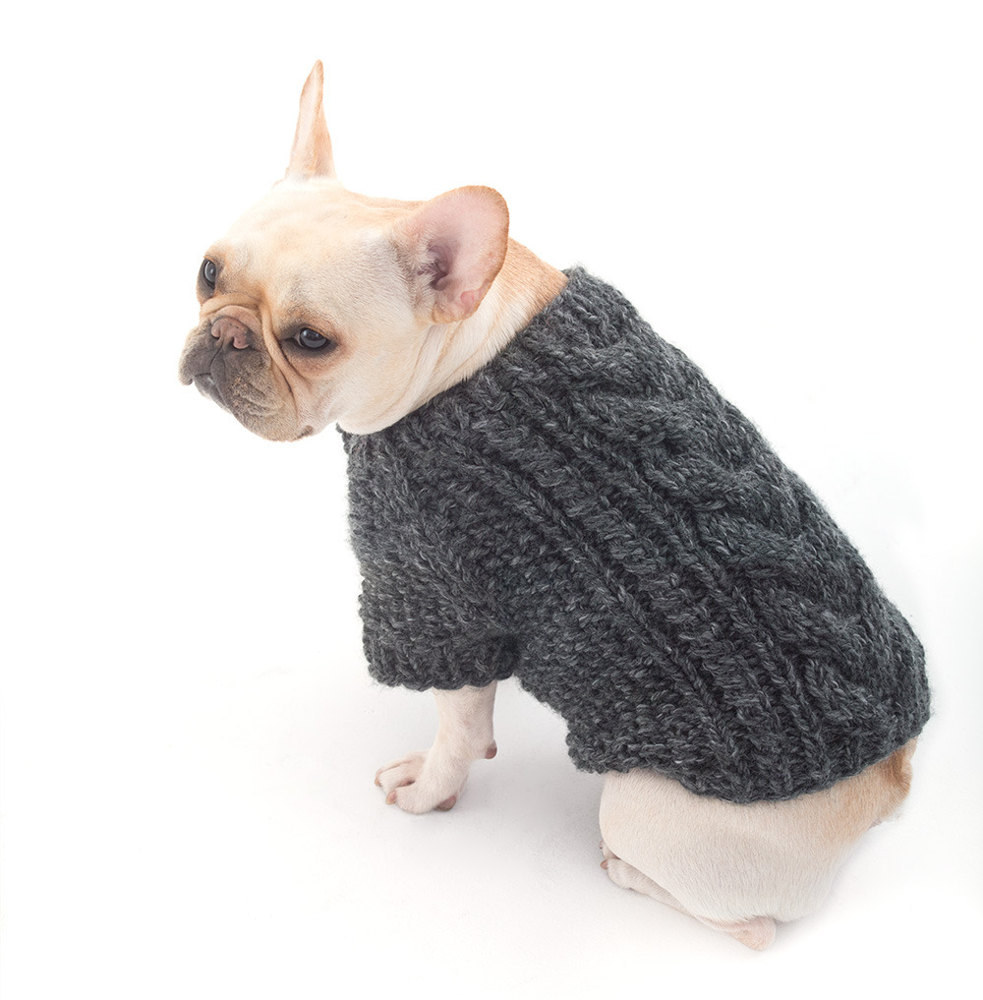 Cabled Dog Cardigan In Lion Brand Wool Ease Thick Amp Quick