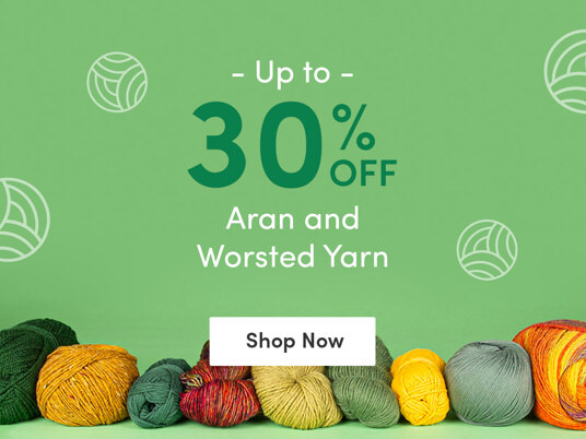 Up to 30 percent off aran and worsted yarn