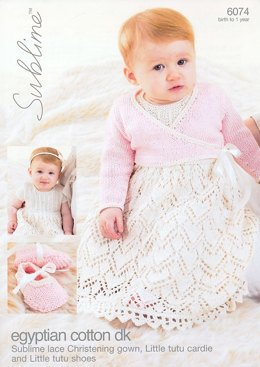 Lace Dress, Cardie and Booties in Sublime Egyptian Cotton DK - 6074