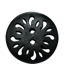 Black Carved 25mm 2-Hole Button