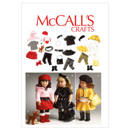 McCall's Clothes For 18' Doll, Accessories and Dog M6669 - Sewing Pattern