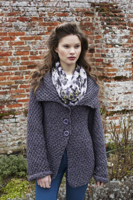 """Moss Stitch Jacket"" - Jacket Knitting Pattern For Women in Debbie Bliss Winter Garden - WG01"