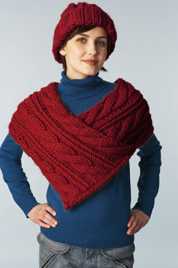 Cabled Wrap And Hat in Lion Brand Hometown USA - 60619B