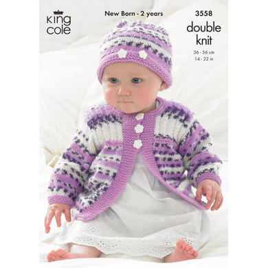 Gilet, Jacket and Hat in King Cole DK - 3558