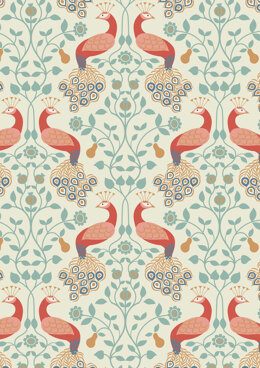 Lewis & Irene Chieveley Peacock & Pear on Cream Fabric Cut to Length