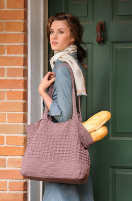 Market Tote Bag in Blue Sky Fibers Skinny Cotton - Downloadable PDF