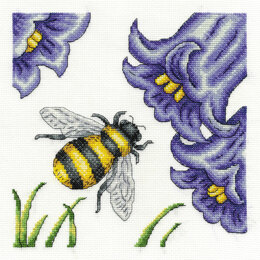 DMC Bee and Bluebells 14 Count Cross Stitch Kit - 17.8cm x 21.6cm