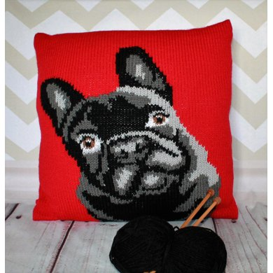 French Bulldog Pet Portrait Cushion Cover Knitting Pattern Knitting