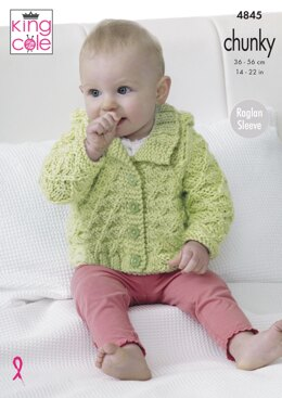 Hoody, Jacket and Matinee Coat in King Cole Chunky - 4845