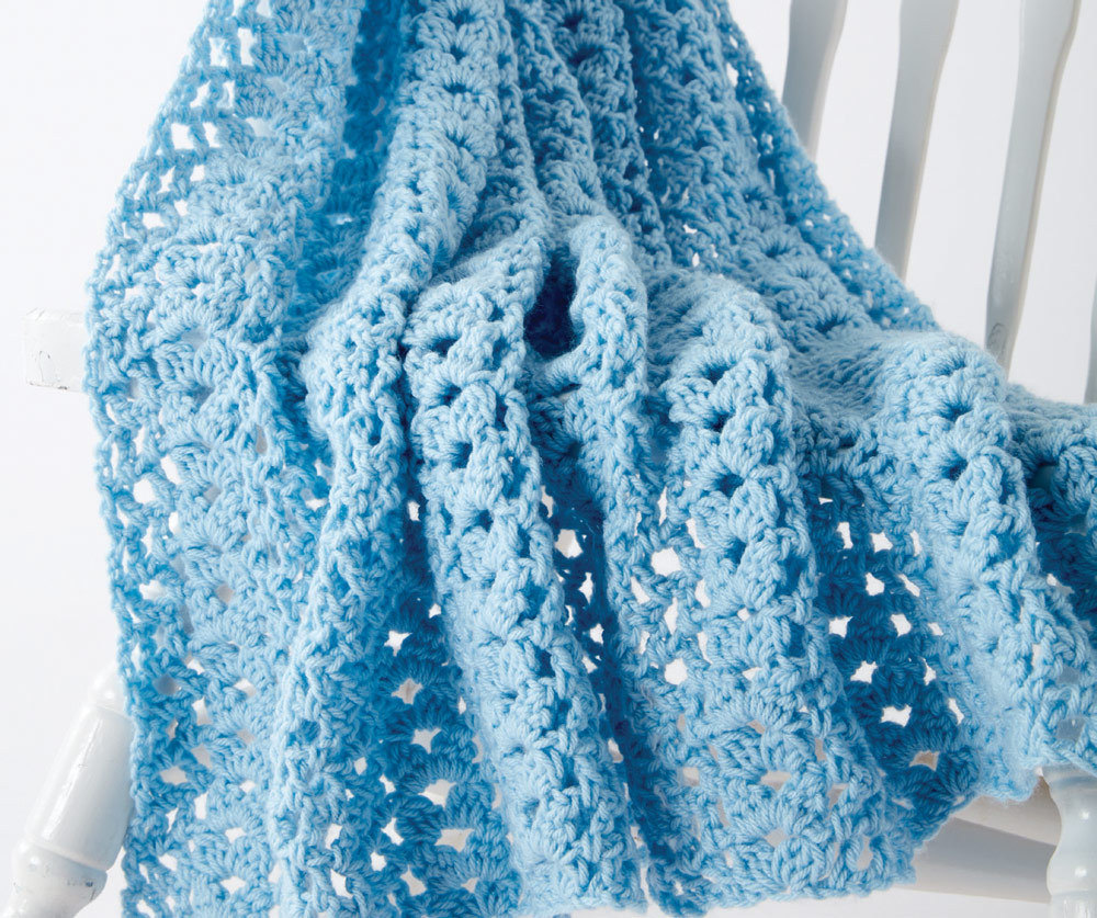 Cluster Waves Crochet Baby Blanket In Caron One Pound