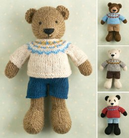 Boy bear in a Fair Isle sweater
