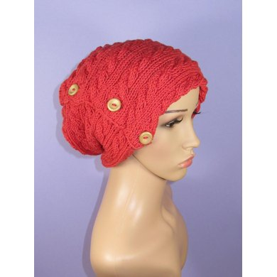 Sideways Button Up Cable Slouch Hat