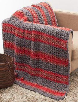 Striped Crochet Afghan in Bernat Soft Boucle