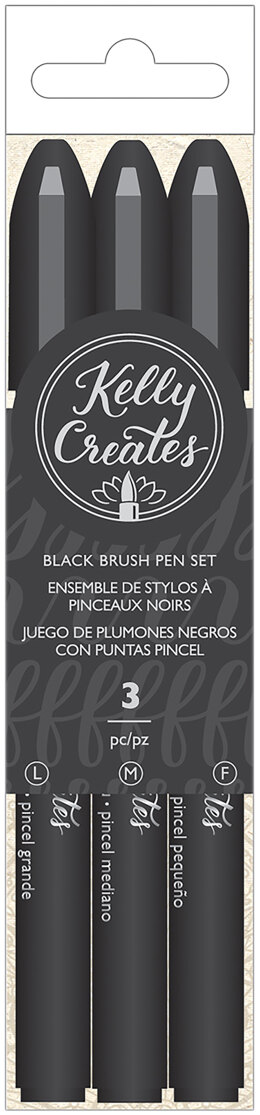 American Crafts Kelly Creates Black Brush Pen Set 3/Pkg - Fine, Medium & Bold