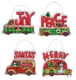 Dimensions Holiday Truck Cross Stitch Ornament Kit (4 pcs) - 9.5cm x 9.5cm