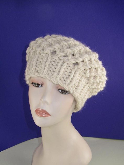 Beret Knitting Pattern Easy : Super Chunky Simple Lace Tam Beret Knitting pattern by madmonkeyknits Knitt...