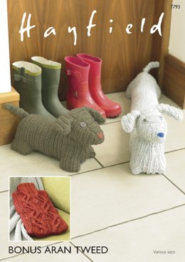 Doggy Door Stop, Draught Excluder and Hot Water Bottle Cover in Hayfield Bonus Aran Tweed with Wool - 7793- Downloadable PDF