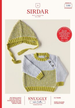 Babies Sweater & Bonnet in Sirdar Snuggly 100% Cotton DK - 5380 - Leaflet