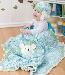 Polar Bear Blanket & Hat in Red Heart Soft Baby Steps Prints - WR2165