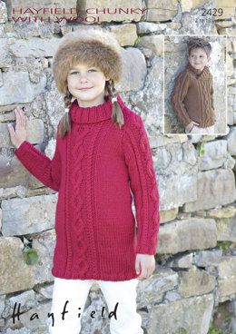 Sweater Dress & Wrap-Neck Cable Sweater in Hayfield Chunky with Wool - 2429