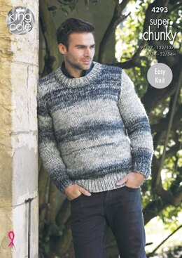 Waistcoat & Round Neck Sweater in King Cole Super Chunky - 4293 - Downloadable PDF