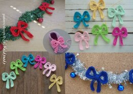 Christmas Crochet Bow Garland, tree ornament, decor