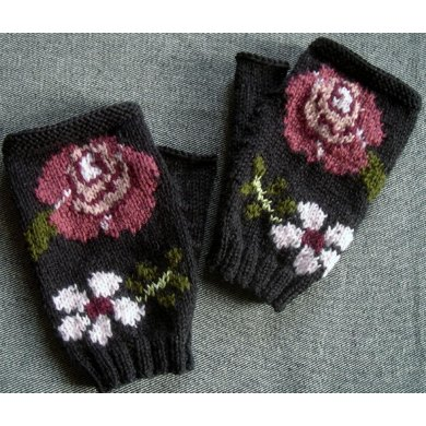 Roses fingerless gloves