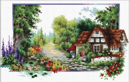 Needleart World English Cottage Stream No-Count Cross Stitch Kit - 40cm x 24cm