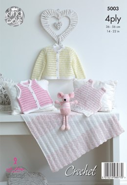 Dress, Sweater, Cardigan Waistcoat & Blanket in King Cole Giza Cotton Sorbet 4ply - 5003 - Leaflet