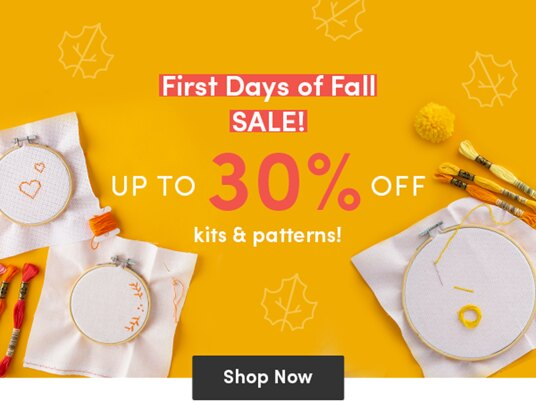 Up to 30 percent off fall patterns & kits!