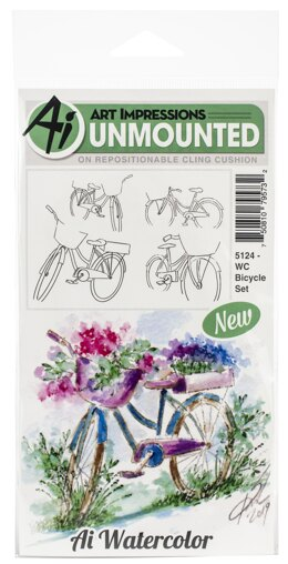 Art Impressions Watercolor Cling Rubber Stamps - Bicycle