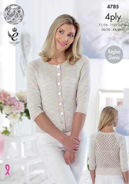 Cardigans in King Cole Giza Cotton Sorbet & Giza 4Ply - 4785 - Leaflet
