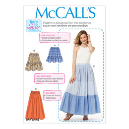 McCall's Misses' Pull-On Gathered Skirts with Tier and Length Variations M7604 - Sewing Pattern